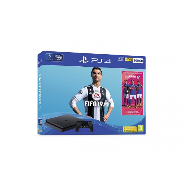 Sony PlayStation 4 500GB Console with FIFA 19 + Dualshock 4 - Black
